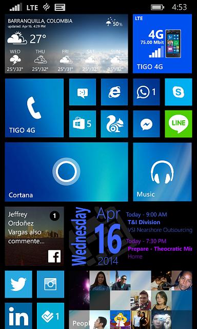 Le tre file di Live Tile, e lo sfondo della schermata Start.