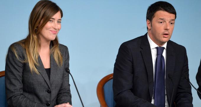 Il ministro per le Riforme, Maria Elena Boschi, con il premier Matteo Renzi. Foto: www.europaquotidiano.it