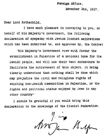 La dichiarazione Balfour (Foto: israele.net)