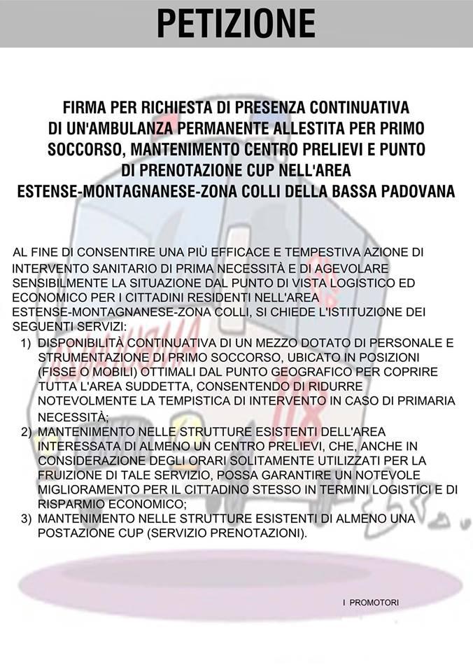 Il testo della petizione che si potrà firmare domani a Este https://www.facebook.com/groups/este.padova.italy/?fref=ts