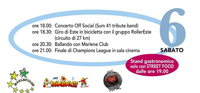 Programma di sabato 6 giugno. (Fonte immagine: https://www.facebook.com/events/976881195676064/)