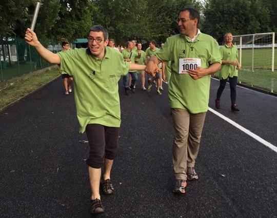 Don Michele e i volontari dello Staff corrono l'ultimo chilometro. (Fonte immagine: https://www.facebook.com/events/976881195676064/)