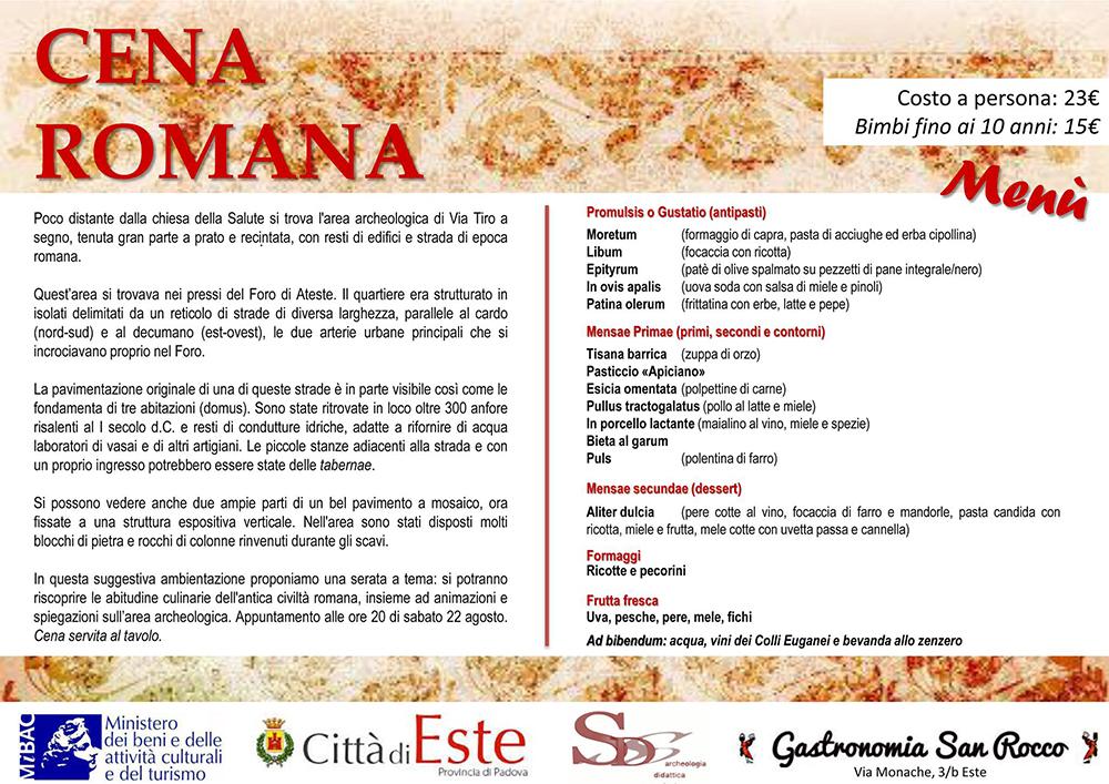 Volantino Cena Romana (Fonte immagine: euganeamente.it)