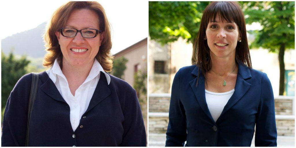 (A sinistra, Chiara Bonato, 49 anni, nuovo assessore alla Pubblica Istruzione, al Trasporto e ai Servizi Scolastici di Baone. A destra, la dimissionaria Claudia Cavallin, 33 anni)