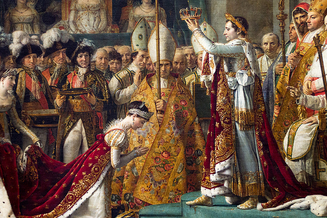 (L'incoronazione di Napoleone, dipinto a olio su tela realizzato tra il 1805 e il 1807 dal pittore Jacques-Louis David. Fonte foto: Wikipedia)
